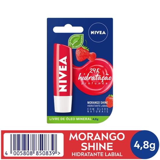 Imagem de Protetor solar labial nivea 4,8g lip care fps10 fruity shine morango