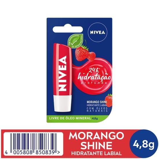 Imagem de Protetor solar labial nivea 4,8g lip care fps10 fruity shine morango