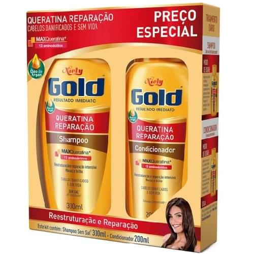 Imagem de Kit sh + co niely gold 300ml queratina