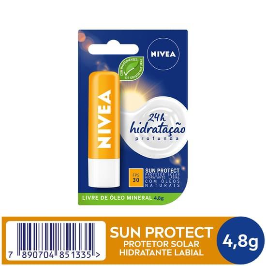Imagem de Protetor solar labial nivea 4,8g lip care fps30 sun protect