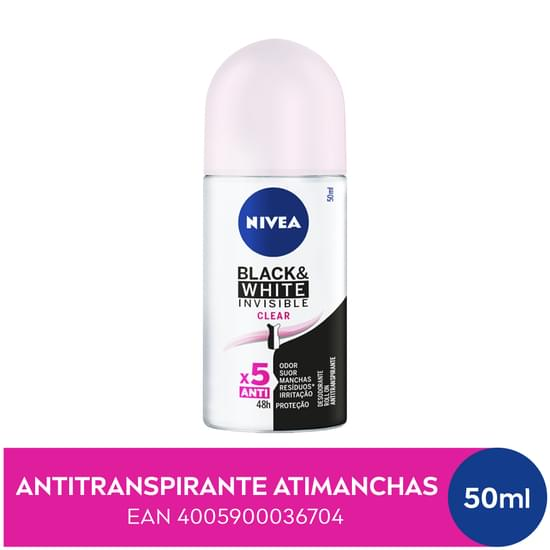 Imagem de Desodorante roll-on nivea 50ml feminino black  white clear