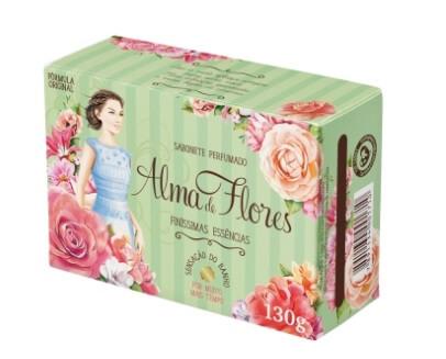 Imagem de Sabonete em barra perfumado alma de flores 130g flores essênciais