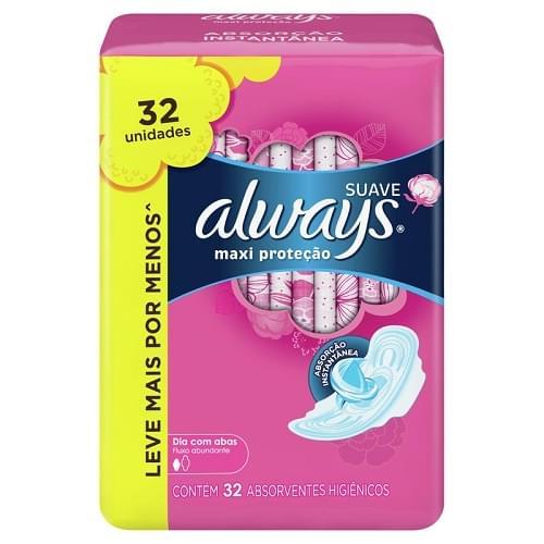 Imagem de Absorvente com abas always protecao total pink leve 32 pague 28