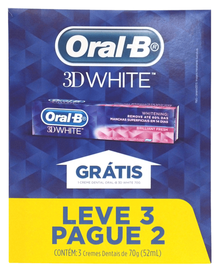 Imagem de Creme dental branqueador oral-b 70g 3d white leve 3 pague 2