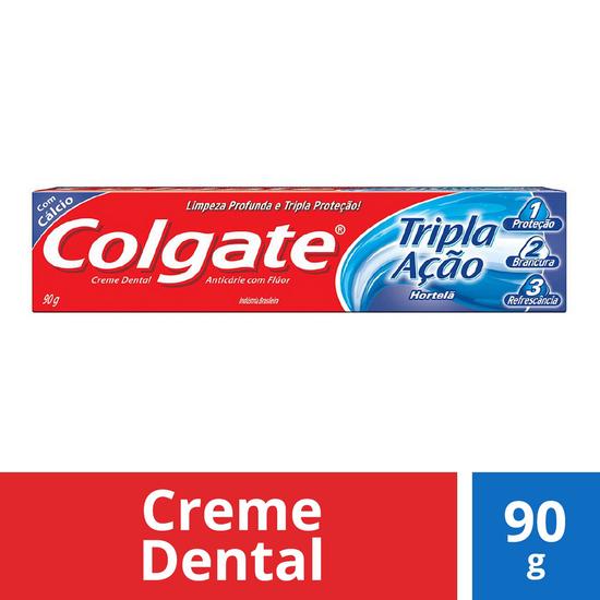 Imagem de Creme dental tradicional colgate 90g tripla ação hortelã