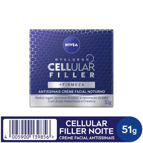 Imagem de Creme facial anti-idade nivea 52g cellular creme facial noturno