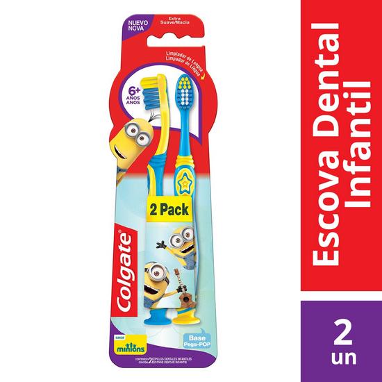Imagem de Escova dental infantil colgate c/2 minions 6+