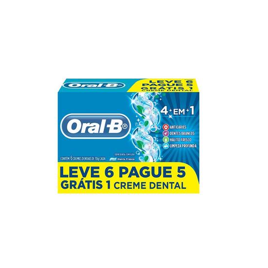 Imagem de Creme dental tradicional oral-b 70g 4 em 1 leve 6 pague 5