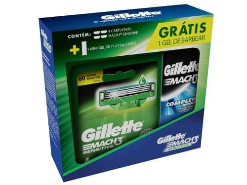 Imagem de Carga barbear gillette mach3 sensitive c/4 grátis gel 71gr