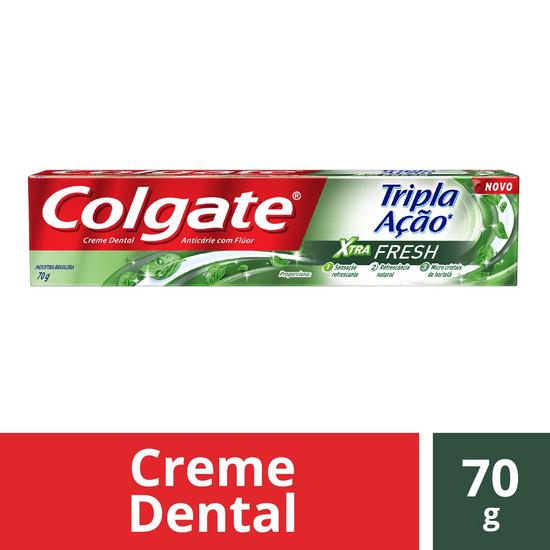 Imagem de Creme dental tradicional colgate 70g tripla ação xtra fresh