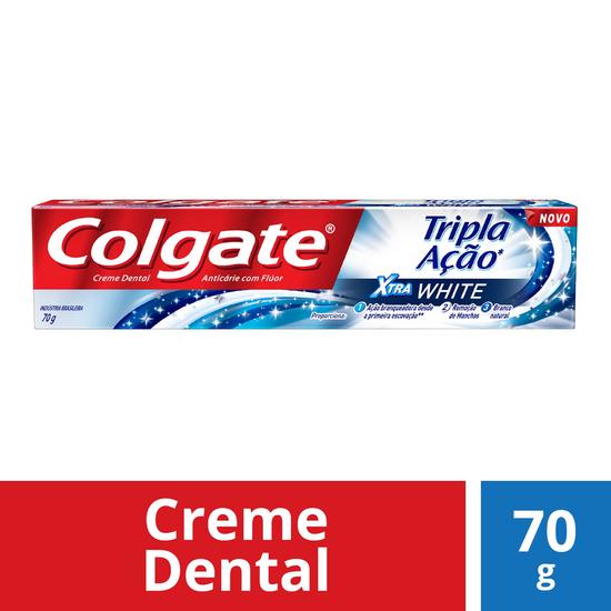 Imagem de Creme dental tradicional colgate 70g tripla ação xtra white