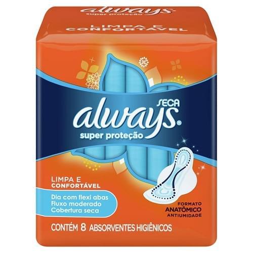 Imagem de Absorvente com abas always c/8 super proteção seca