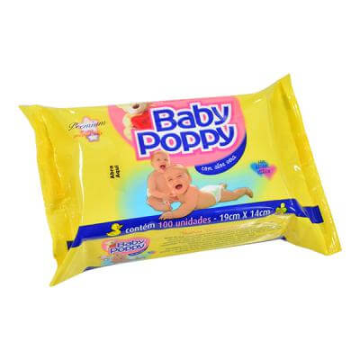 Imagem de Lenço umedecido sache baby poppy c/96 toalha