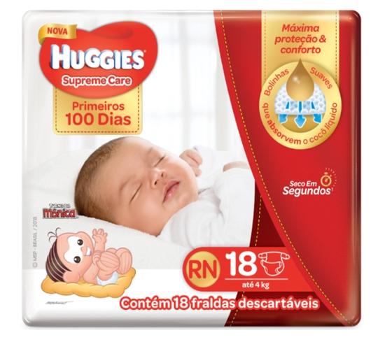 Imagem de Fralda infantil huggies c/18 supreme mega rn 18 pc