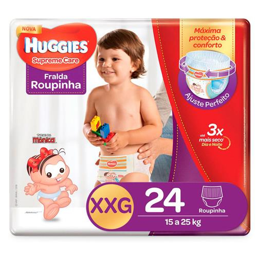 Imagem de Fralda infantil huggies c/24 roupinha supreme care mega xxg pc