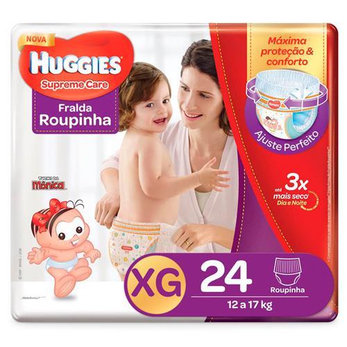 Imagem de Fralda infantil huggies c/24 roupinha supreme care mega xg pc