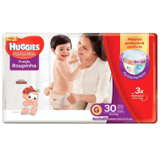 Imagem de Fralda infantil huggies c/30 roupinha supreme care mega g pc