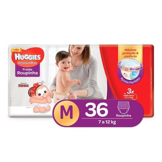 Imagem de Fralda infantil huggies c/36 roupinha supreme care mega m pc