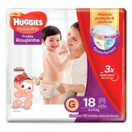 Imagem de Fralda infantil huggies c/18 roupinha supreme care jumbo g pc