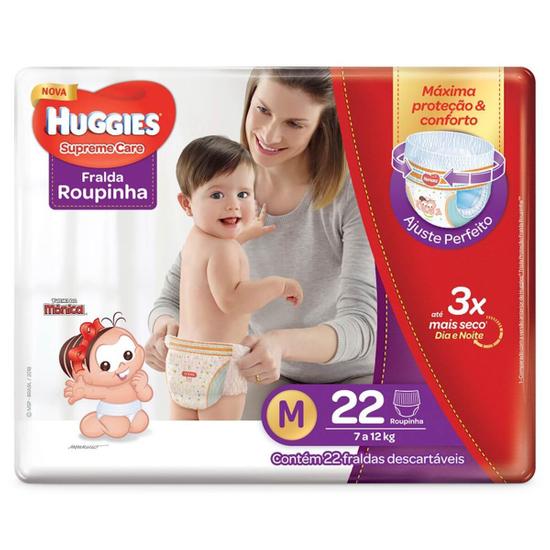 Imagem de Fralda infantil huggies c/22 roupinha supreme care jumbo m pc