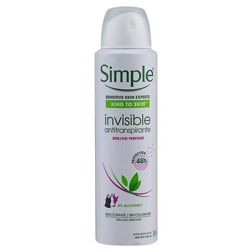 Imagem de Desodorante aerosol simple 150ml invisible sem perfume