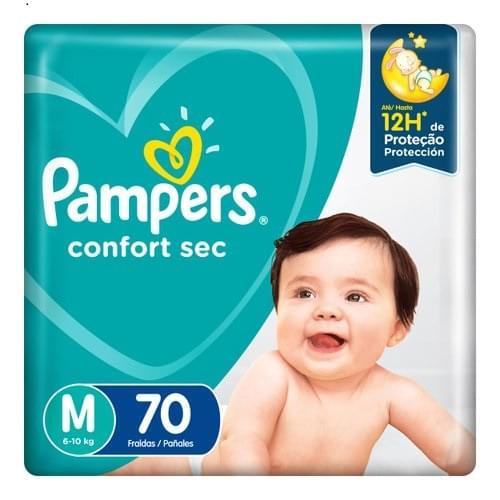 Imagem de Fralda infantil pampers confort c/70 mega m pc