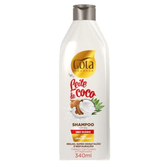 Imagem de Shampoo uso diário gota dourada 340ml leite de coco
