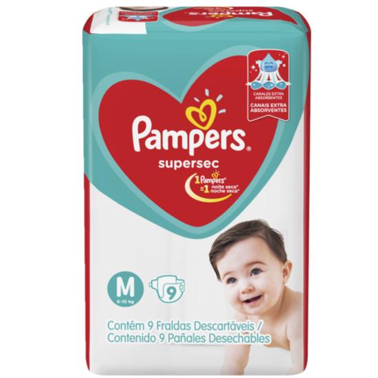 Imagem de Fralda infantil pampers supersec c/9 pacotinho m