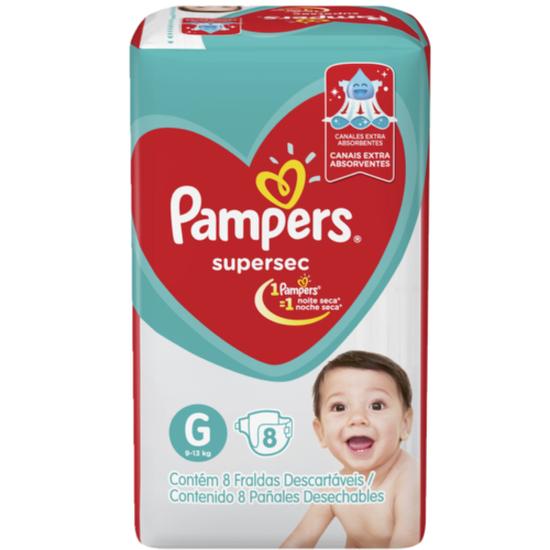 Imagem de Fralda infantil pampers supersec c/8 pacotinho g