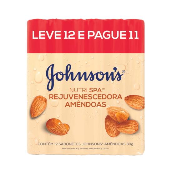 Imagem de Sabonete em barra uso diário johnson johnson 80g amêndoas leve 12 pague 11