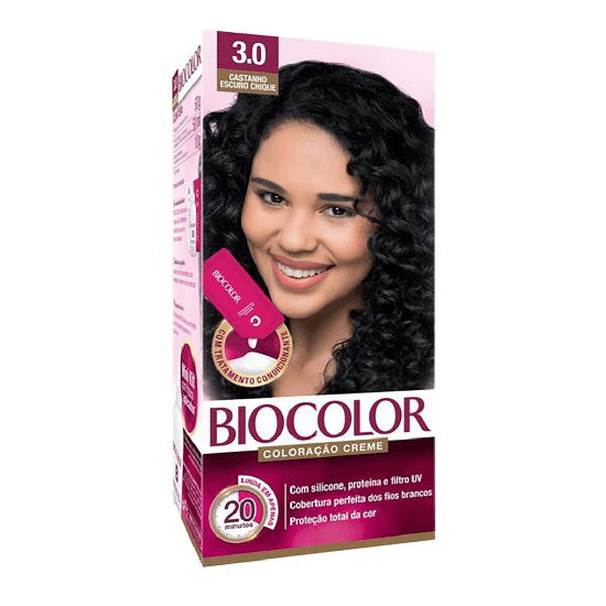 Imagem de Tintura permanente biocolor 3.0 castanho escuro chique