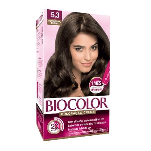 Imagem de Tintura permanente biocolor 5.3 castanho claro dourado
