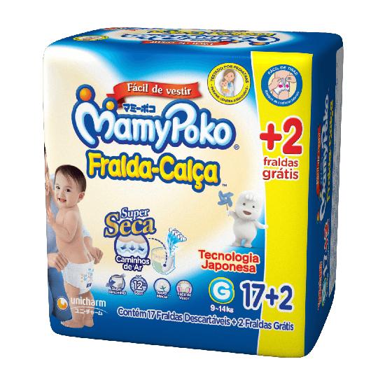 Imagem de Fralda infantil mamypoko c/17 + 2 gratis calça regular g