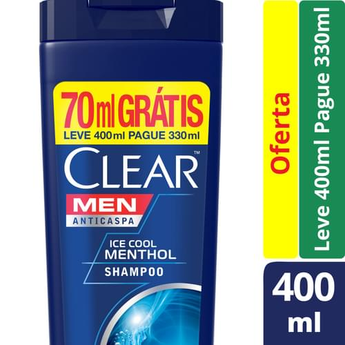 Imagem de Shampoo anti caspa clear 400ml ice cool menthol l400ml p330ml