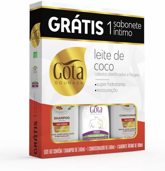 Imagem de Kit sh + co gota dourada 340ml leite de coco grátis sabonete íntimo