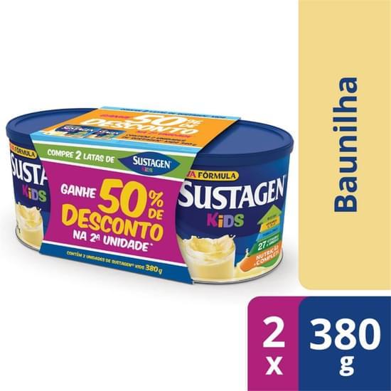 Imagem de Suplemento alimentar lata sustagen kids 380g baunilha 50% de desconto c/2