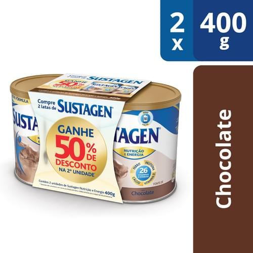 Imagem de Suplemento alimentar lata sustagen 400g chocolate 50% de desconto c/2