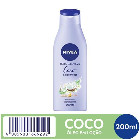 Imagem de Loção corporal hidratante nivea 200ml coco e óleo monoi