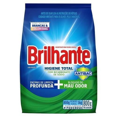 Imagem de Detergente em pó brilhante 800g higiene total pc