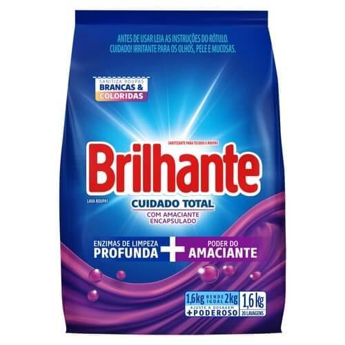Imagem de Detergente em pó brilhante 1,6kg cuidado total pc