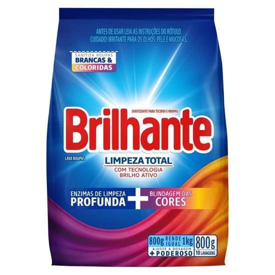 Imagem de Detergente em pó brilhante 800g limpeza total pc