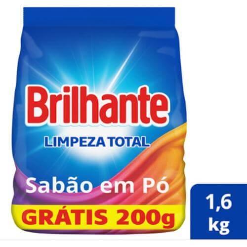 Imagem de Detergente em pó brilhante leve 1600kg pague 1400kg limpeza total pc
