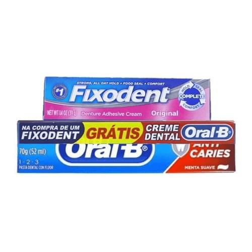 Imagem de Fixador de dentadura fixodent 39g gratis creme dental oral-b 123