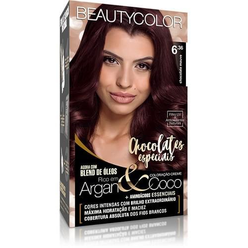 Imagem de Tintura permanente beauty color 6.36 chocolate mauve