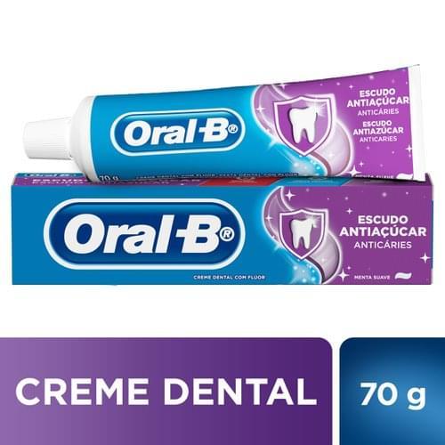 Imagem de Creme dental tradicional oral-b 70g escudo anti açúcar