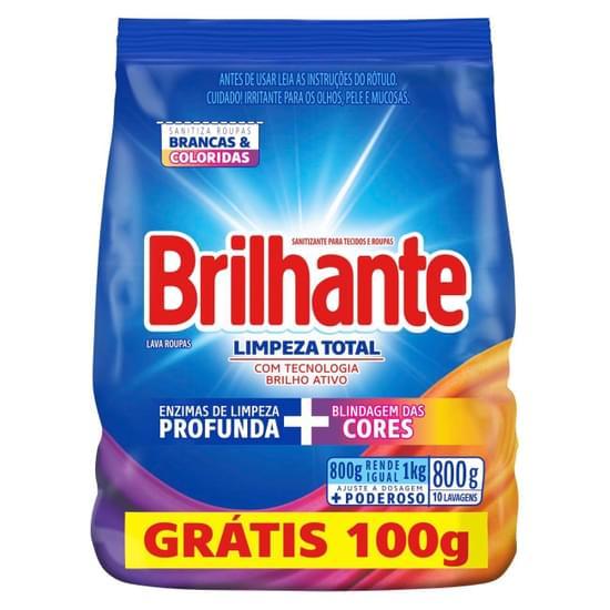 Imagem de Detergente em pó brilhante 800g limpeza total l800g p700g pc