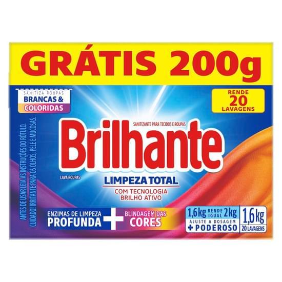 Imagem de Detergente em pó brilhante 1,6kg limpeza total l1,6kg p1,4kg cx