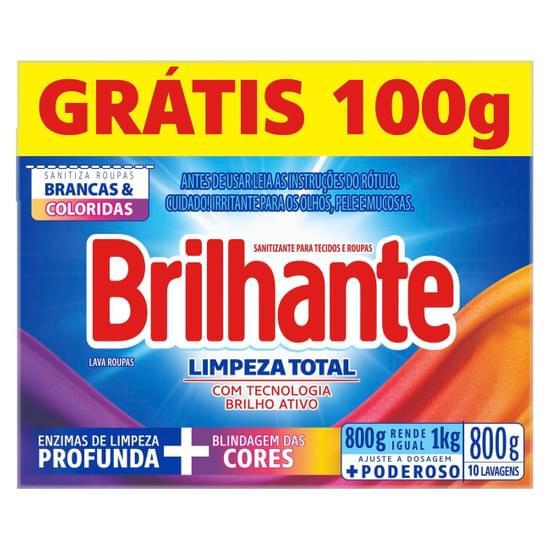 Imagem de Detergente em pó brilhante 800g limpeza total l800g p700g cx