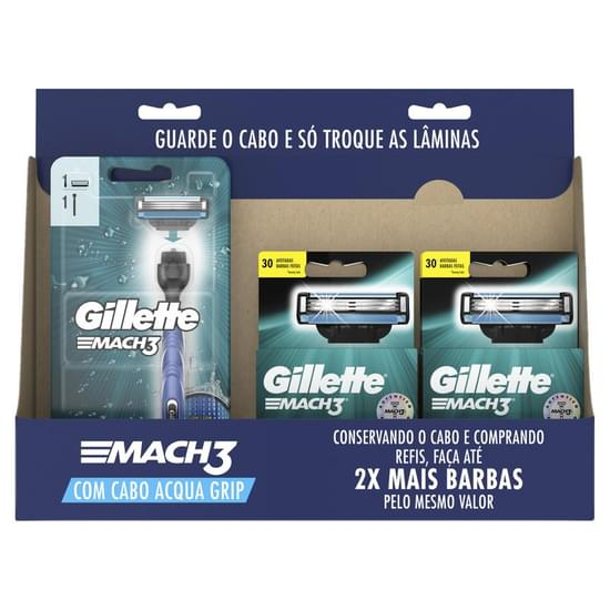 Imagem de Kit barbear gillette mach3 acqua grip c/2 + 4cargas c/2