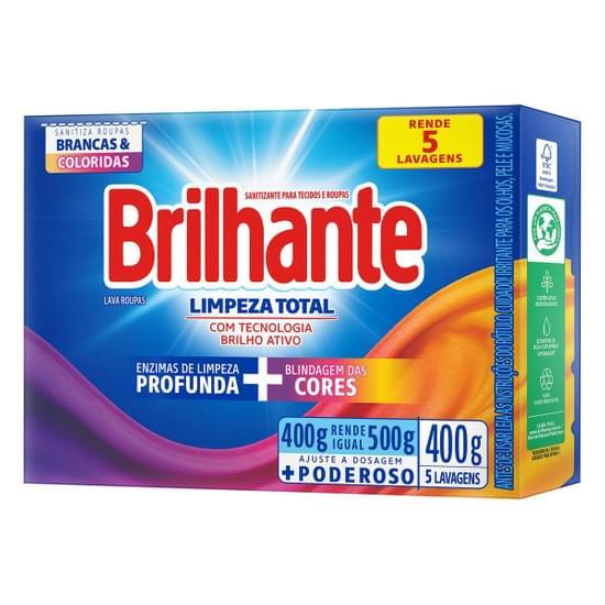 Imagem de Detergente em pó brilhante 400g limpeza total caixa